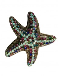CRYSTAL STARFISH BROOCH