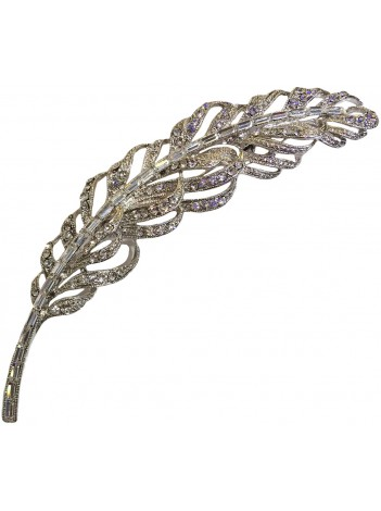 D-CRYSTAL FEATHER BROOCH