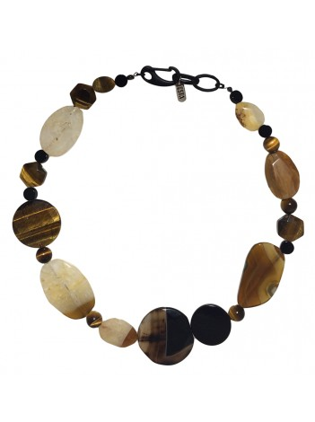 AGATE, ONYX & TIGER-EYE NECKLACE