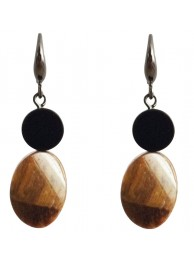 ONYX & TIGER-EYE EARRING
