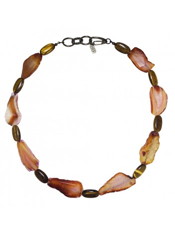 AGATE & TIGER-EYE NECKLACE