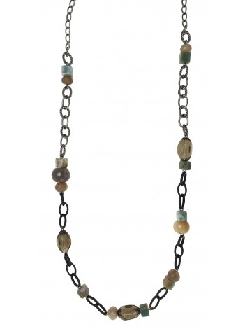 A-SMOKY QUARTZ & AGATE NECKLACE
